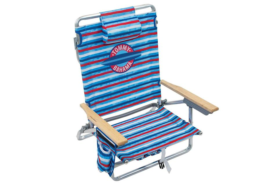 Blue and red beach chair
