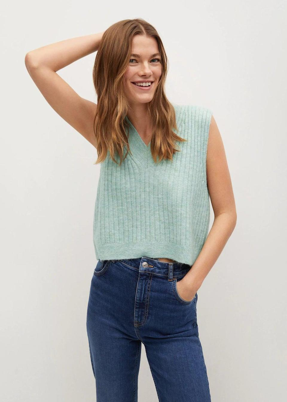 <p>This <span>Mango V-Neck Knitted Vest</span> ($50) is a fresh pick for all your spring adventures.</p>