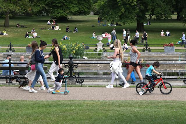 People walking and exercising in Hyde Park in London after the introduction of measures to bring the country out of lockdown. (Getty Images)