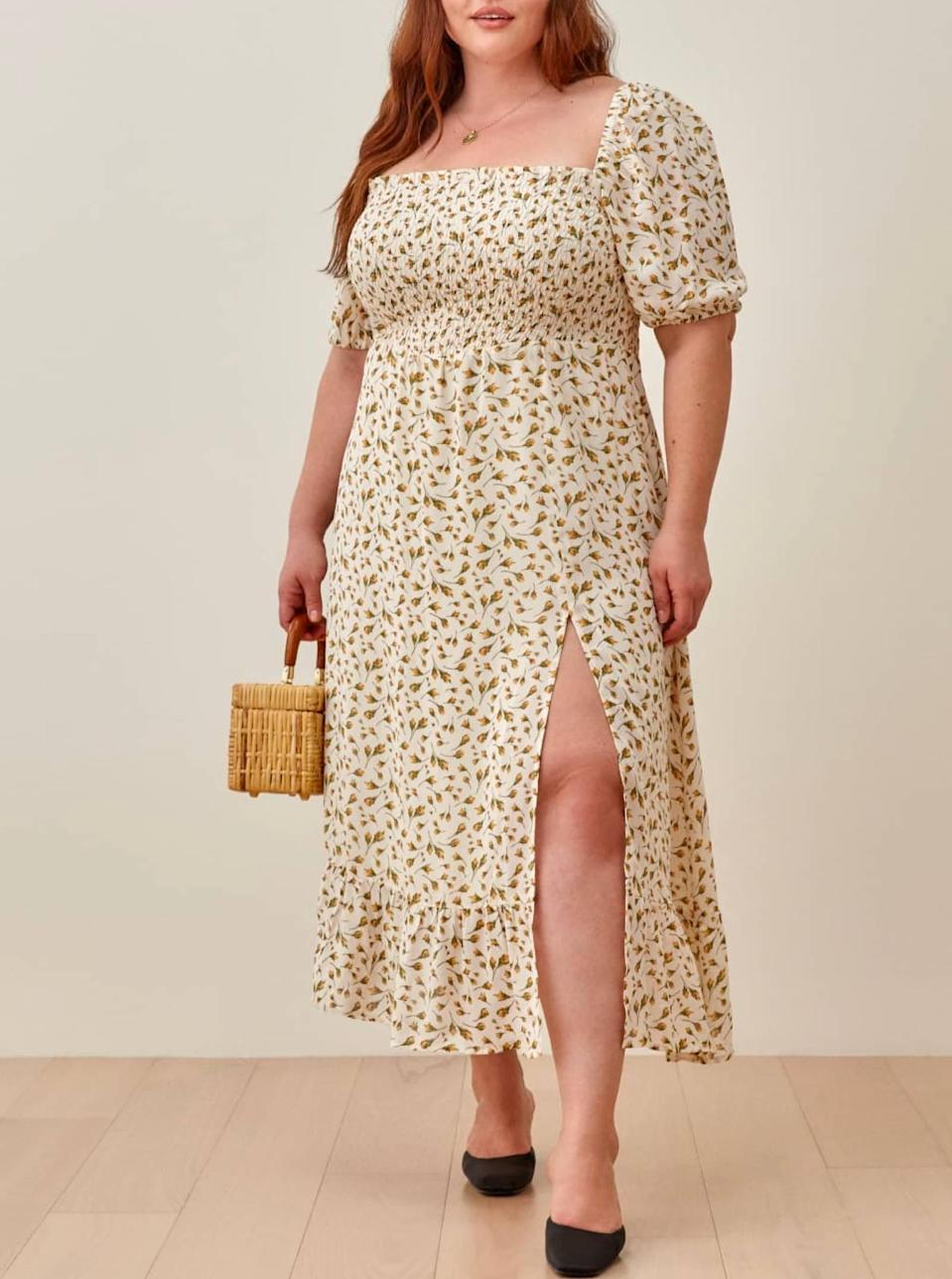 """$248, Reformation. <a href=""""https://www.thereformation.com/products/meadow-dress-es?"""" rel=""""nofollow noopener"""" target=""""_blank"""" data-ylk=""""slk:Get it now!"""" class=""""link rapid-noclick-resp"""">Get it now!</a>"""