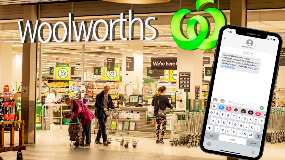 The exterior of a Woolworths store and a screenshot of the scam text.