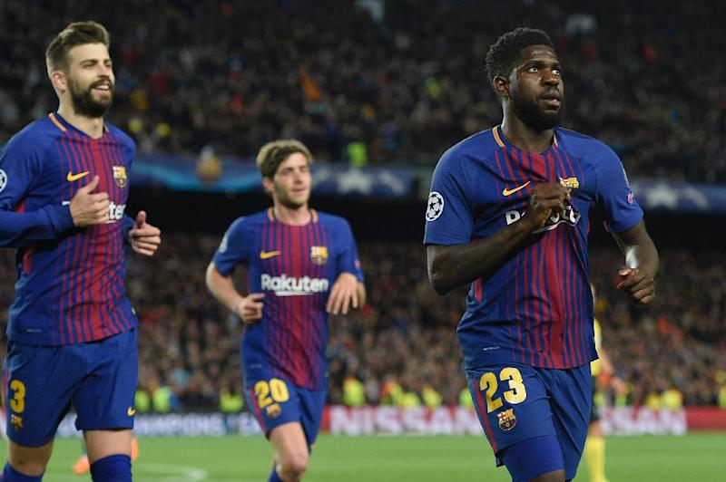 "Résultat de recherche d'images pour ""Umtiti declares love for Barca after Roma rout"""