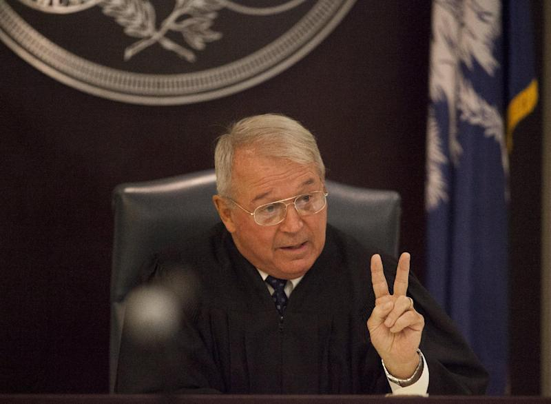 Judge J.C. Nicholson makes a point during a hearing on a gag order in the pending trial of Dylann Roof, at the Judicial Center in Charleston, South Carolina July 16, 2015. The South Carolina Press Association is challenging a decision by Judge Nicholson made last week on potential trial participants as well as banning the release of documents in the case, including 911 police dispatch calls, coroner's reports and witness statements. REUTERS/Randall Hill