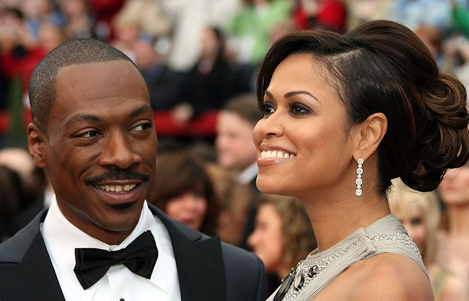 Actor Eddie Murphy and producer, Tracey Edmonds arrive at the 79th Academy Awards in style. <em>[Photo: Getty]</em>