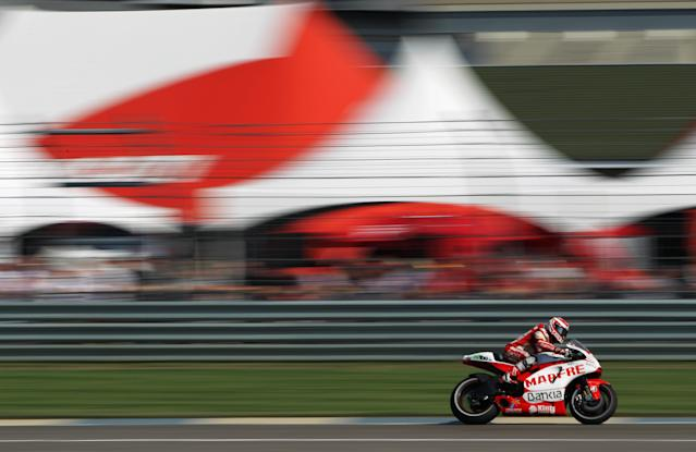 INDIANAPOLIS, IN - AUGUST 27: Hector Barbera #8 of Spain in action during Moto GP practice at Indianapolis Motorspeedway on August 27, 2011 in Indianapolis, Indiana. (Photo by Jamie Squire/Getty Images)