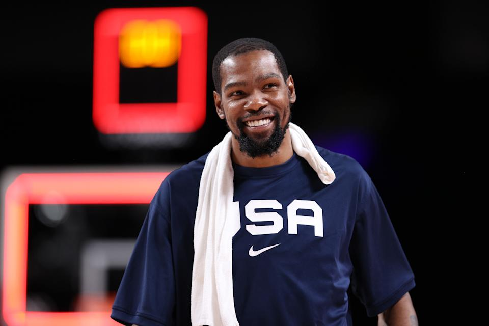 <p>SAITAMA, JAPAN - JULY 31: Kevin Durant #7 of Team United States smiles in celebration after defeating Team Czech Republic in a Men's Basketball Preliminary Round Group A game on day eight of the Tokyo 2020 Olympic Games at Saitama Super Arena on July 31, 2021 in Saitama, Japan. (Photo by Ezra Shaw/Getty Images)</p>