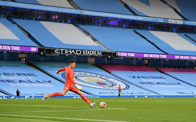 Empty stands at the Etihad Stadium — Sport welcomes one-metre rule as it looks to get fans back into grounds - GETTY IMAGES