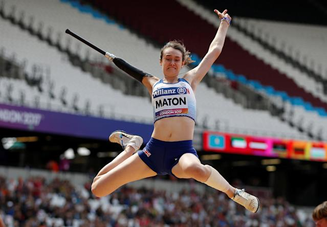 Athletics – IAAF World ParaAthletics Championships – London, Britain – July 23, 2017 Great Britain's Polly Maton in action during the Women's Long Jump T47 Final REUTERS/Peter Cziborra TPX IMAGES OF THE DAY