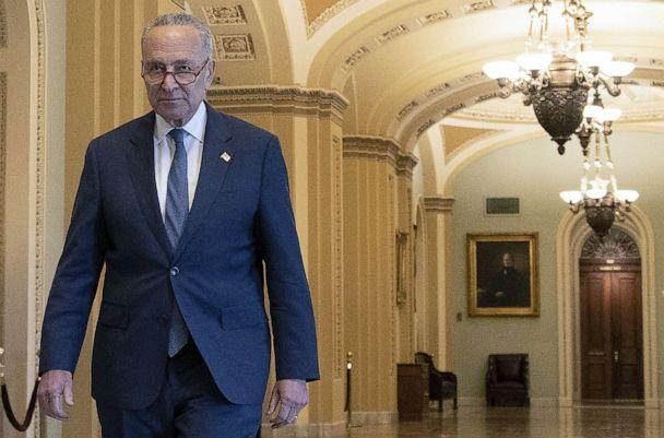 PHOTO: Senate Minority Leader Charles Schumer (D-NY) walks from the Senate chamber at the Capitol, Jan. 3, 2020. (Tasos Katopodis/Getty Images)