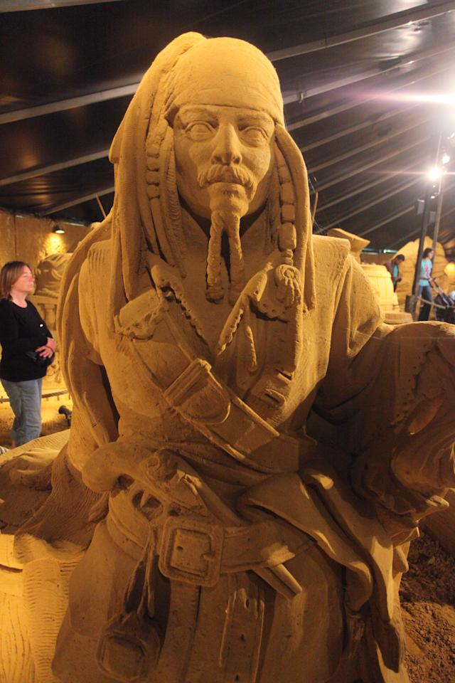 BLANKENBERGE, BELGIUM - JULY 22: A sandsculpture based on the Magical Moments Festival of Disneyland Paris is shown at the Sand Sculpture Festival on July 22, 2011 in Blankenberge, Belgium. (Photo by Mark Renders/Getty Images)