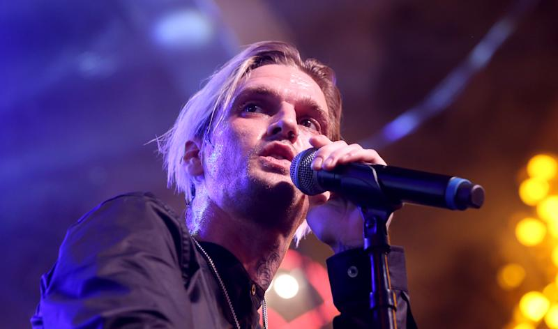 LAS VEGAS, NEVADA - JULY 27: Singer and producer Aaron Carter performs during the Pop 2000 Tour at the Fremont Street Experience on July 27, 2019 in Las Vegas, Nevada. (Photo by Gabe Ginsberg/Getty Images)