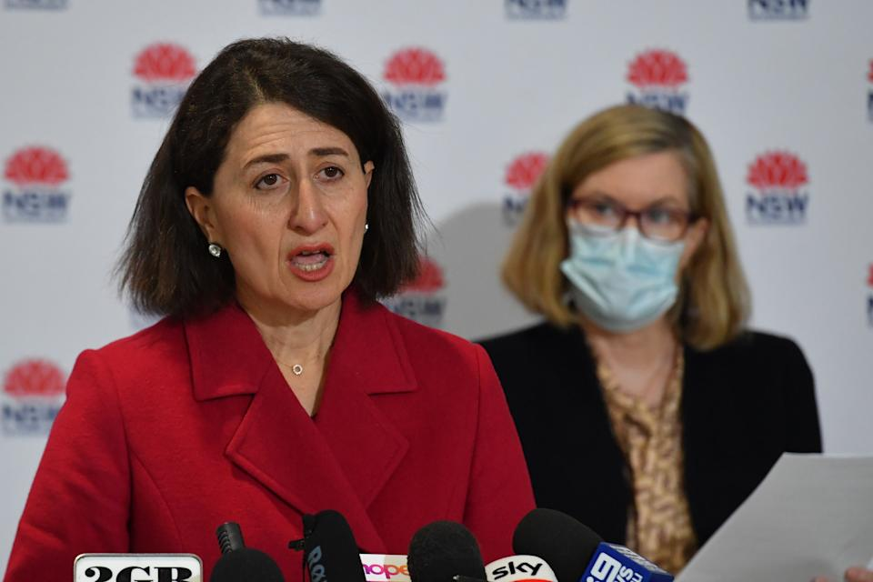 NSW Premier Gladys Berejiklian and Chief Health Officer Dr Kerry Chant at a Covid update press conference.
