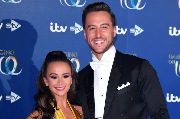 Carlotta Edwards and Alexander Demetriou attend the Dancing On Ice 2019 photocall at the Dancing On Ice Studio, ITV Studios, Old Bovingdon Airfield on December 09, 2019 in Bovingdon, England. (Photo by Karwai Tang/WireImage)