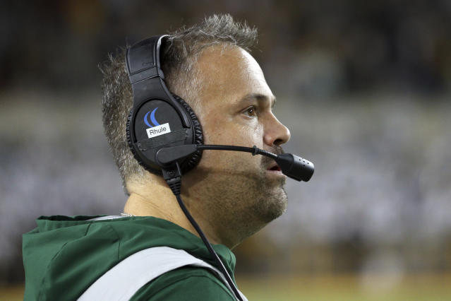 Baylor head coach Matt Rhule watches from the sideline in an NCAA college football game against Texas Saturday, Nov. 23, 2019, in Waco, Texas. (AP Photo/Richard W. Rodriguez)