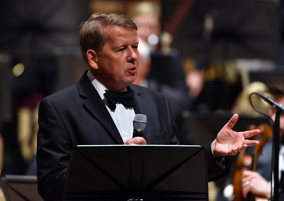 Bill Turnbull presents on stage with the Royal Liverpool Philharmonic Orchestra during Classic FM's 25th Birthday concert at the Liverpool Philharmonic Hall. Classic FM launched 25 years ago today and is now the UK's most popular classical music station. PRESS ASSOCIATION Photo. Picture date: Thursday September 7, 2017. Photo credit should read: Matt Crossick/PA Wire (Photo by Matt Crossick/PA Images via Getty Images)