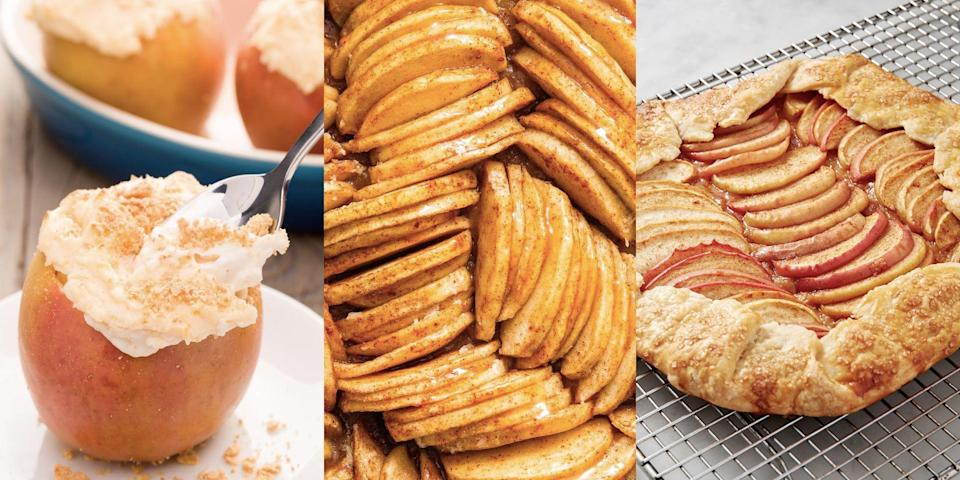 """<p>When we say that apples are versatile, we really mean that they're versatile. These guys can be used for absolutely everything (sweet and savoury), whether that's a <a href=""""https://www.delish.com/uk/cooking/recipes/a32624609/apple-tart-recipe/"""" rel=""""nofollow noopener"""" target=""""_blank"""" data-ylk=""""slk:Classic Apple Tart"""" class=""""link rapid-noclick-resp"""">Classic Apple Tart</a> or delicious <a href=""""https://www.delish.com/uk/cooking/recipes/a29696317/apple-brussels-sprouts-salad-recipe/"""" rel=""""nofollow noopener"""" target=""""_blank"""" data-ylk=""""slk:Apple Salad"""" class=""""link rapid-noclick-resp"""">Apple Salad</a>. We especially love them in desserts. We're talking <a href=""""https://www.delish.com/uk/cooking/recipes/a30220118/apple-crumble-cupcakes/"""" rel=""""nofollow noopener"""" target=""""_blank"""" data-ylk=""""slk:Apple Crumble Cupcakes"""" class=""""link rapid-noclick-resp"""">Apple Crumble Cupcakes</a>, <a href=""""https://www.delish.com/uk/cooking/recipes/a28840433/caramel-apple-cheesecake-recipe/"""" rel=""""nofollow noopener"""" target=""""_blank"""" data-ylk=""""slk:Caramel Apple Cheesecake"""" class=""""link rapid-noclick-resp"""">Caramel Apple Cheesecake</a> and <a href=""""https://www.delish.com/uk/cooking/recipes/a33120732/giant-caramel-apple-cinnamon-roll-recipe/"""" rel=""""nofollow noopener"""" target=""""_blank"""" data-ylk=""""slk:Giant Apple Cinnamon Rolls"""" class=""""link rapid-noclick-resp"""">Giant Apple Cinnamon Rolls</a> (yes, you heard me). So, for all the apple-inspiration you could possibly want, check out some of our favourite apple recipes now. </p><p>Interested in everything <a href=""""https://www.delish.com/uk/cooking/recipes/g33213451/apple-pie-recipe/"""" rel=""""nofollow noopener"""" target=""""_blank"""" data-ylk=""""slk:apple pie"""" class=""""link rapid-noclick-resp"""">apple pie</a>? We've got an entire round-up dedicated to the fruity, family dessert. </p>"""