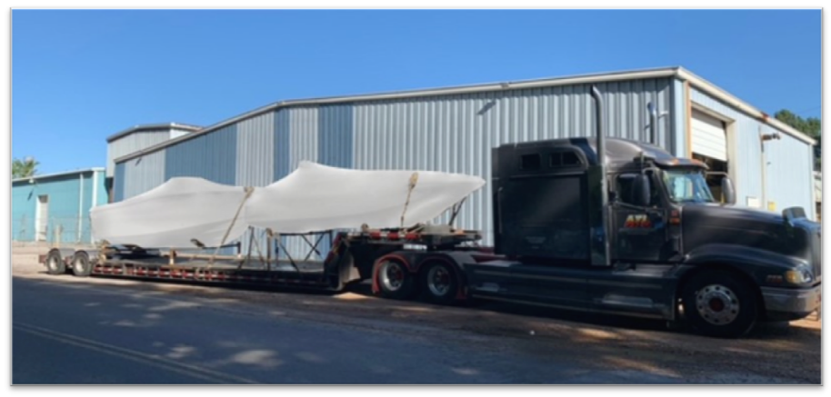 Limestone® test boats being shipped to Vision Marine for electric motor installation and Sea Trials.: Limestone® test boats being shipped to Vision Marine for electric motor installation and Sea Trials.