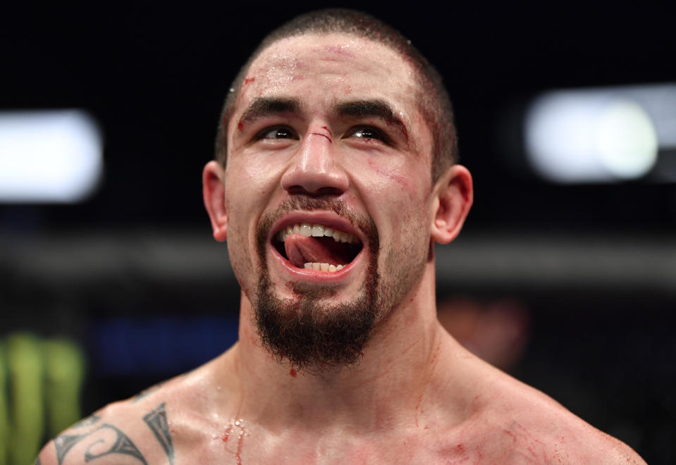 ABU DHABI, UNITED ARAB EMIRATES - JULY 26: Robert Whittaker of New Zealand reacts after the conclusion of his middleweight fight against Darren Till of England during the UFC Fight Night event inside Flash Forum on UFC Fight Island on July 26, 2020 in Yas Island, Abu Dhabi, United Arab Emirates. (Photo by Jeff Bottari/Zuffa LLC via Getty Images)