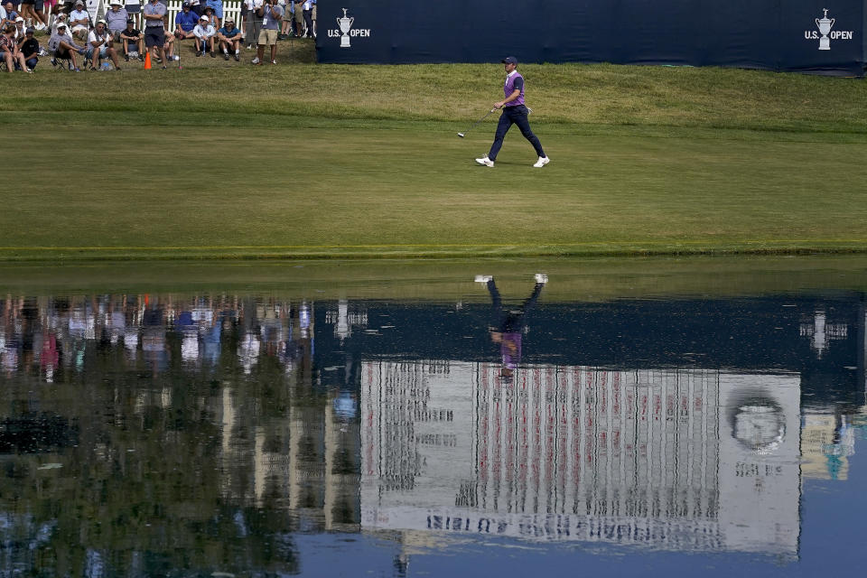 Rory McIlroy, of Northern Ireland, walks up the 18th fairway during the third round of the U.S. Open Golf Championship, Saturday, June 19, 2021, at Torrey Pines Golf Course in San Diego. (AP Photo/Marcio Jose Sanchez)