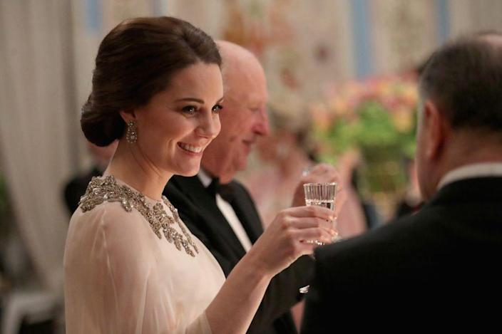 """<p>If a member of the royal fam has to use the bathroom during an official function (let's use pregnant Kate here as an example), she's to simply say """"excuse me"""" and not further explain where or why she's going. Before she does, though, she'll cross her fork and knife on her plate if she's not <a href=""""https://www.countryliving.com/uk/create/food-and-drink/news/a3272/royal-family-dining-etiquette-rule/"""" rel=""""nofollow noopener"""" target=""""_blank"""" data-ylk=""""slk:done"""" class=""""link rapid-noclick-resp"""">done</a> — that signals to the waitstaff she's still going.</p>"""