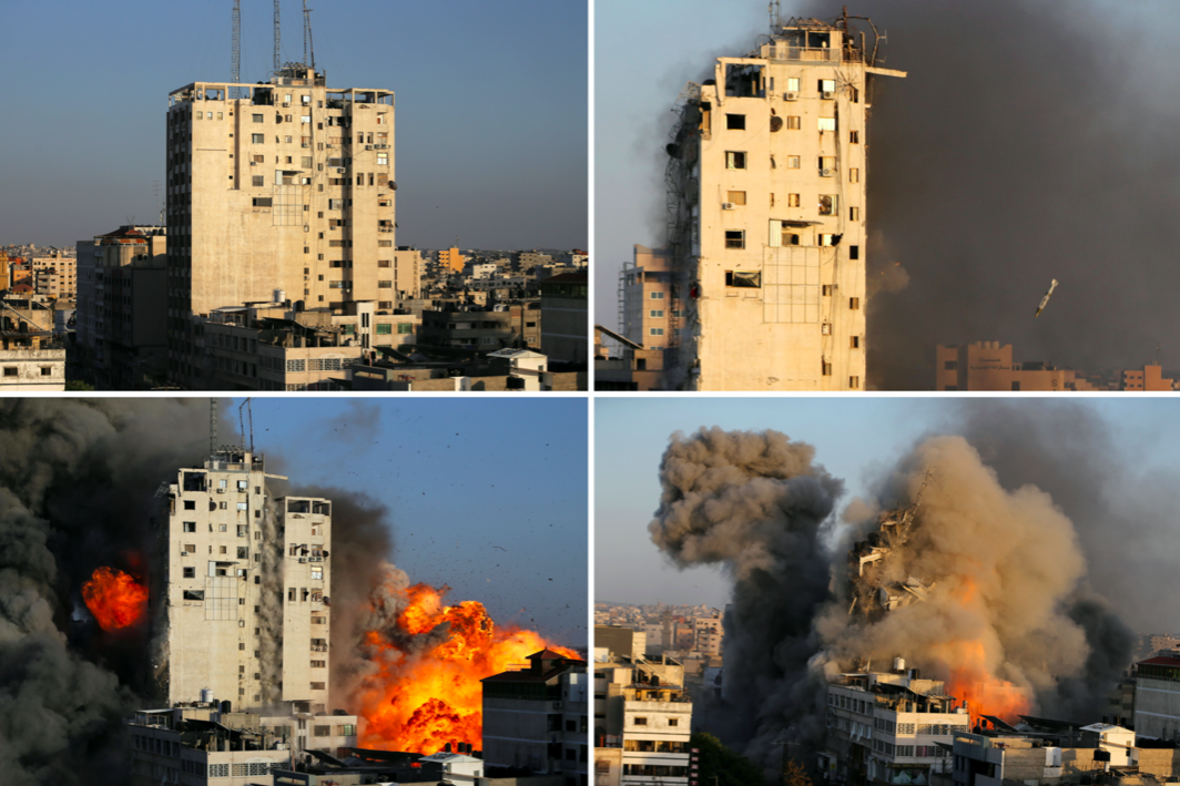 A combination picture shows a tower building before and after it was destroyed by Israeli air strikes amid a flare-up of Israeli-Palestinian violence, in Gaza City. (Reuters/Ibraheem Abu Mustafa)