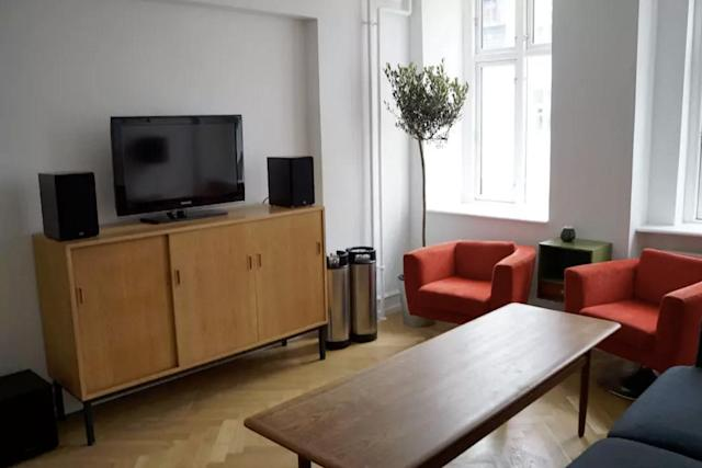 <p>Here's the cozy living room with a sofa bed. (Airbnb) </p>