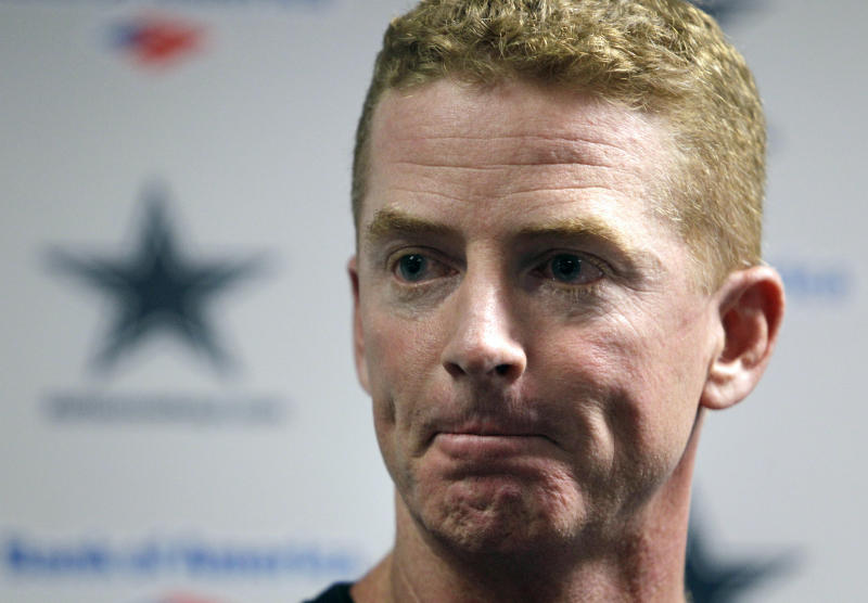 Newly appointed interim head coach Jason Garrett responds to questions during a news conference at the teams training facility, Monday, Nov. 8, 2010, in Irving, Texas. Garrett replaces head coach Wade Phillips who was fired earlier in the day. (AP Photo/Tony Gutierrez)