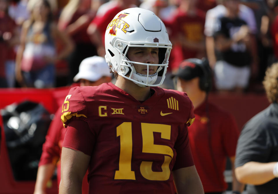 AMES, IA - SEPTEMBER 4: Quarterback Brock Purdy #15 of the Iowa State Cyclones takes part in pregame warmups at Jack Trice Stadium on September 4, 2021 in Ames, Iowa. The Iowa State Cyclones won 16-10 over the Northern Iowa Panthers. (Photo by David K Purdy/Getty Images)