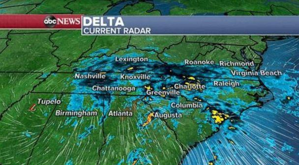 Heavy rain, gusty winds continue as Delta remnants move Northeast""
