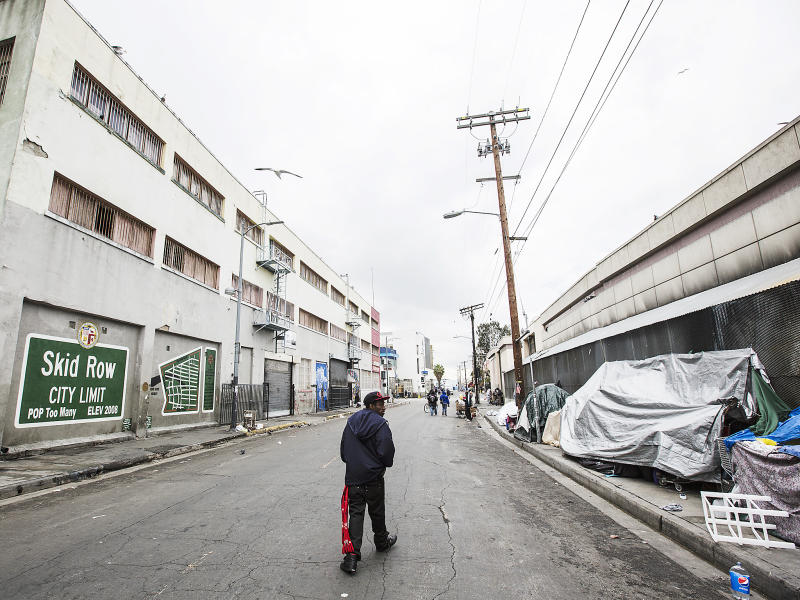 Skid Row in downtown Los Angeles. Skid Row has LA's largest concentration of homeless people who regularly camp on the sidewalks in tents and cardboard boxes: Getty Images