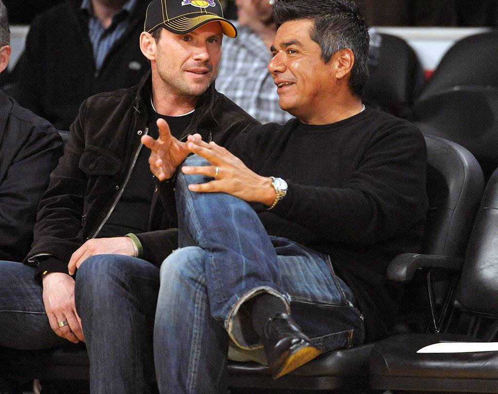 "Who knew Christian Slater and George Lopez were basketball BFFs? London Ent/Splash News/<a href=""http://www.splashnewsonline.com/"" target=""new"">Splash News</a> - February 18, 2010"
