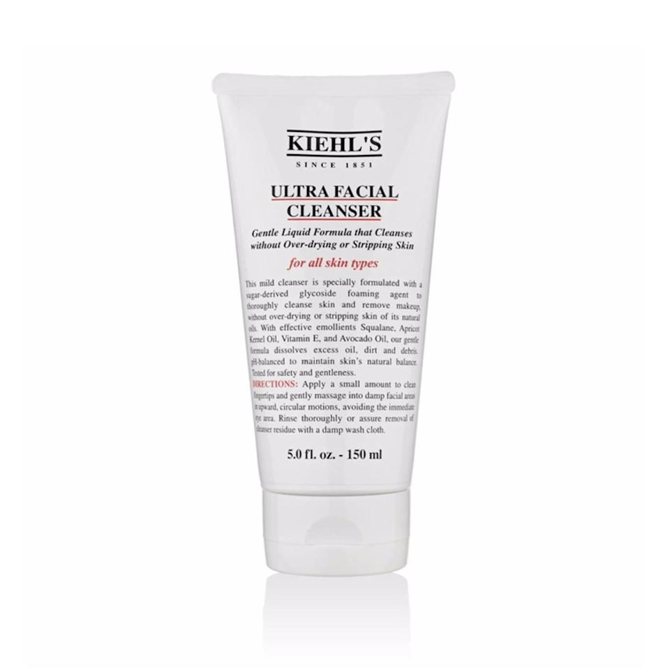 """<p>Kiehl's Ultra Facial Cleanser is a <a href=""""https://www.allure.com/gallery/best-of-beauty-skin-care-2011?mbid=synd_yahoo_rss"""" rel=""""nofollow noopener"""" target=""""_blank"""" data-ylk=""""slk:mild gel wash"""" class=""""link rapid-noclick-resp"""">mild gel wash</a> that has been a favorite of dermatologists and the greater face washing universe for nearly a decade. It's <a href=""""https://www.allure.com/story/squalane-vs-squalene-skin-care-difference?mbid=synd_yahoo_rss"""" rel=""""nofollow noopener"""" target=""""_blank"""" data-ylk=""""slk:loaded with squalene"""" class=""""link rapid-noclick-resp"""">loaded with squalene</a> and avocado oils to moisturize and antioxidants to protect, explains Massachusetts dermatologist Ranella Hirsch. """"This gel cleanser foams to gently remove makeup and grime while leaving skin supremely hydrated,"""" she says.</p> <p><strong>$20</strong> (<a href=""""https://shop-links.co/1689627635224640540"""" rel=""""nofollow noopener"""" target=""""_blank"""" data-ylk=""""slk:Shop Now"""" class=""""link rapid-noclick-resp"""">Shop Now</a>)</p>"""
