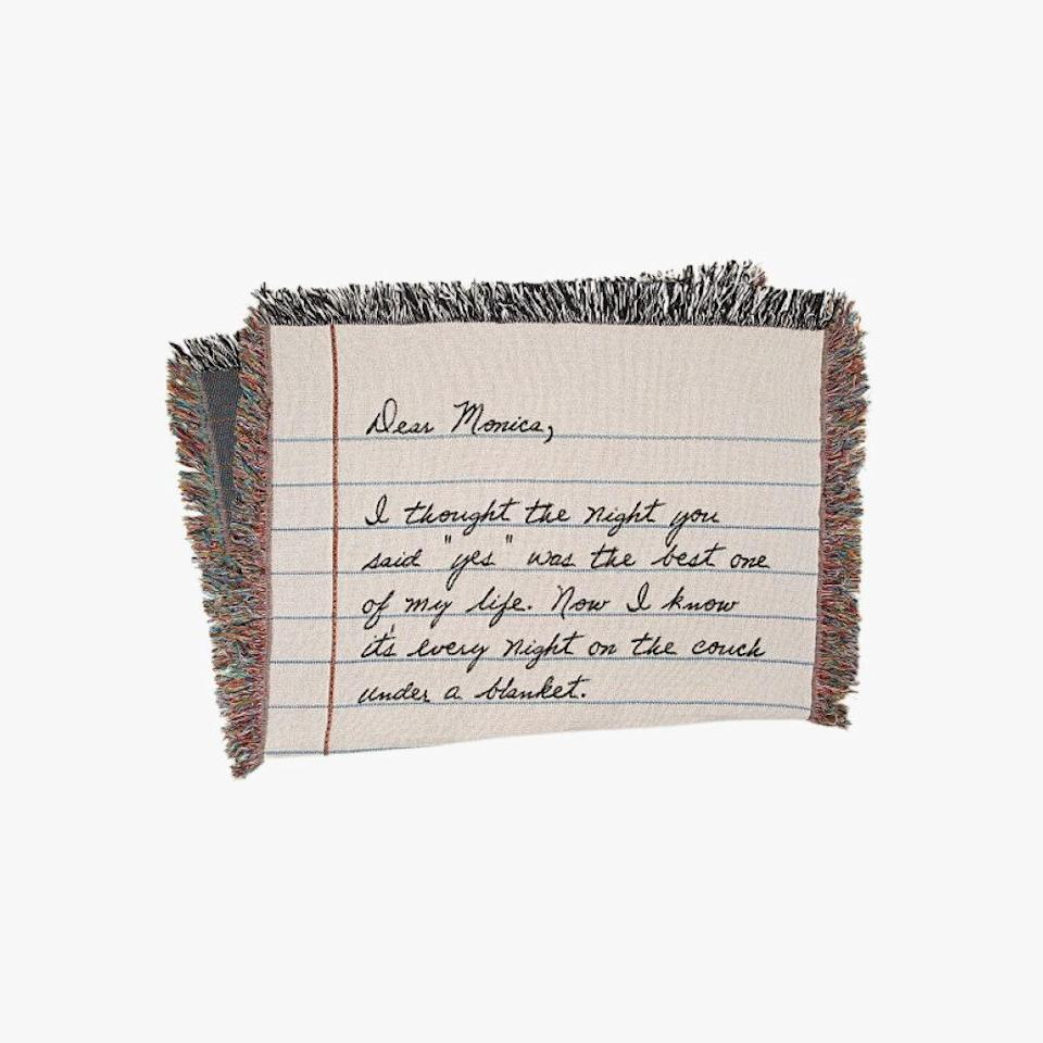 """$160, UNCOMMON GOODS. <a href=""""https://www.uncommongoods.com/product/personalized-hand-written-letter-blanket"""" rel=""""nofollow noopener"""" target=""""_blank"""" data-ylk=""""slk:Get it now!"""" class=""""link rapid-noclick-resp"""">Get it now!</a>"""
