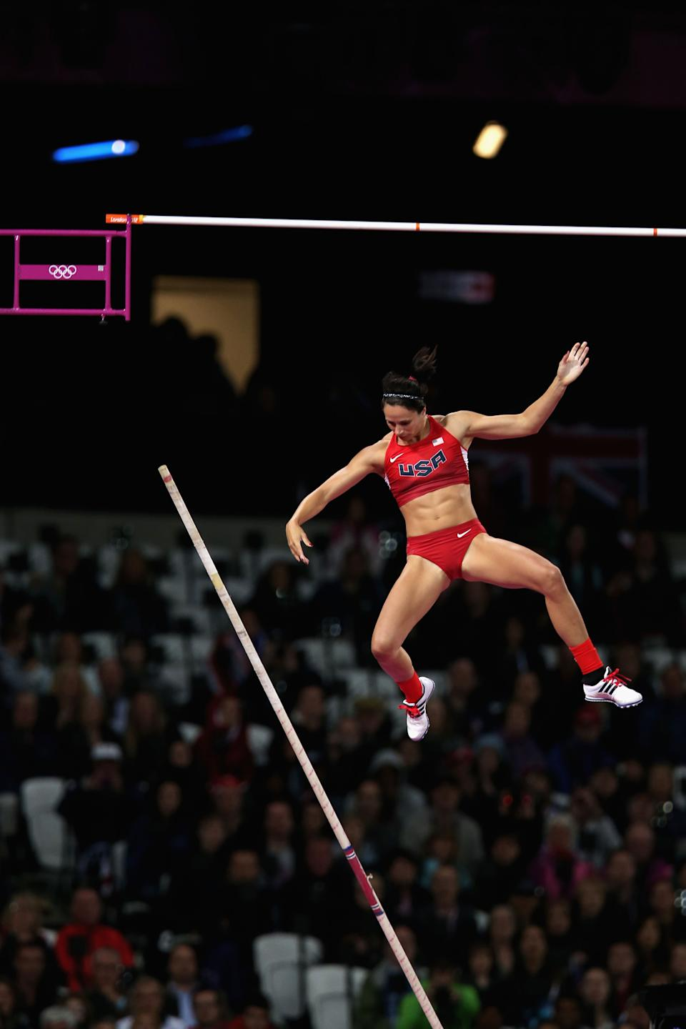 Jennifer Suhr of the United States competes in the Women's Pole Vault final on Day 10 of the London 2012 Olympic Games at the Olympic Stadium on August 6, 2012 in London, England. (Photo by Hannah Johnston/Getty Images)