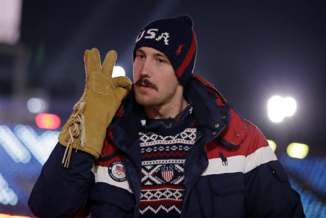 <p>An athlete from the United States poses during the opening ceremony of the 2018 Winter Olympics in Pyeongchang, South Korea, Friday, Feb. 9, 2018. (AP Photo/Vadim Ghirda) </p>