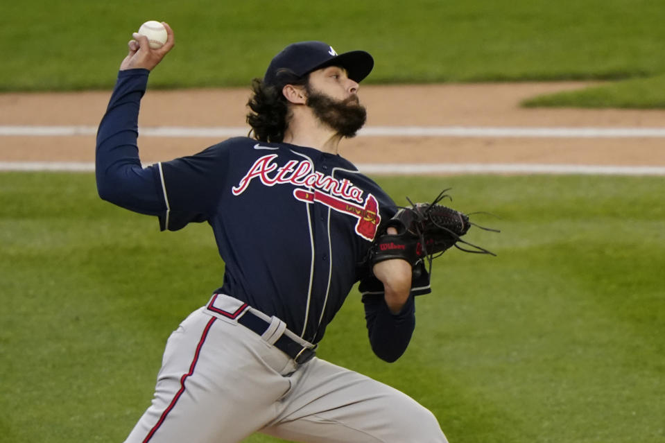 Atlanta Braves starting pitcher Ian Anderson throws during the first inning of the team's baseball game against the New York Yankees, Wednesday, April 21, 2021, at Yankee Stadium in New York. (AP Photo/Kathy Willens)