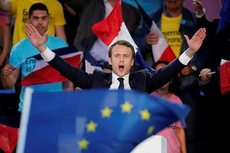 Emmanuel Macron, head of the political movement En Marche !, or Onwards !, and candidate for the 2017 presidential election, attends a campaign rally in Albi