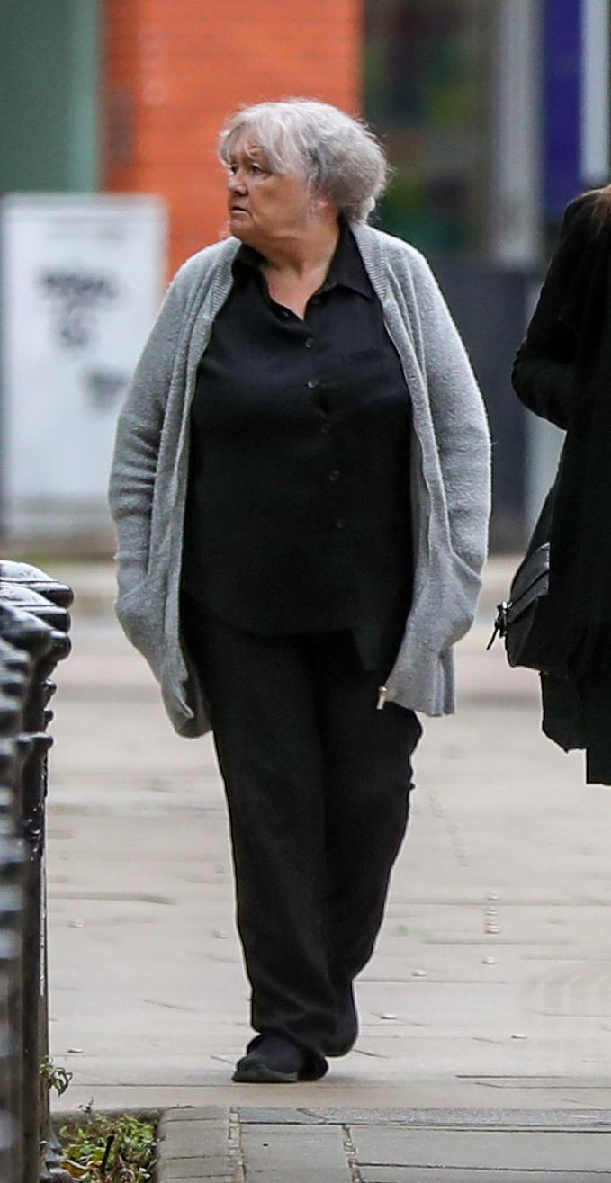Christina Pomfrey, 65, arrives at Minshull Street Crown Court in Manchester to face sentencing for charges of benefit fraud.