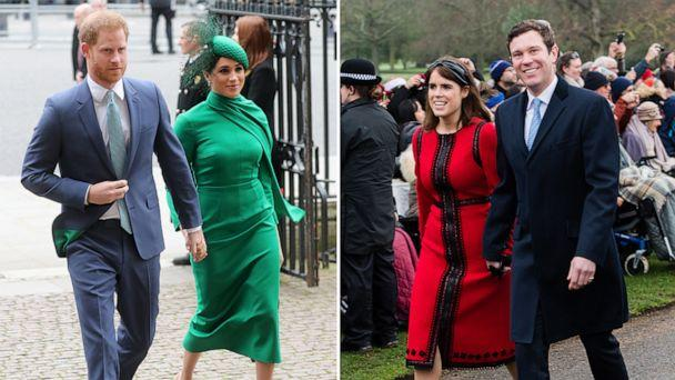 PHOTO: Prince Harry, Duke of Sussex and Meghan, Duchess of Sussex attend the Commonwealth Day Service, March 9, 2020, in London. Princess Eugenie of York and Jack Brooksbank attend Christmas Day Church service, Dec. 25, 2018, in King's Lynn, England.  (Getty Images/WireImage)