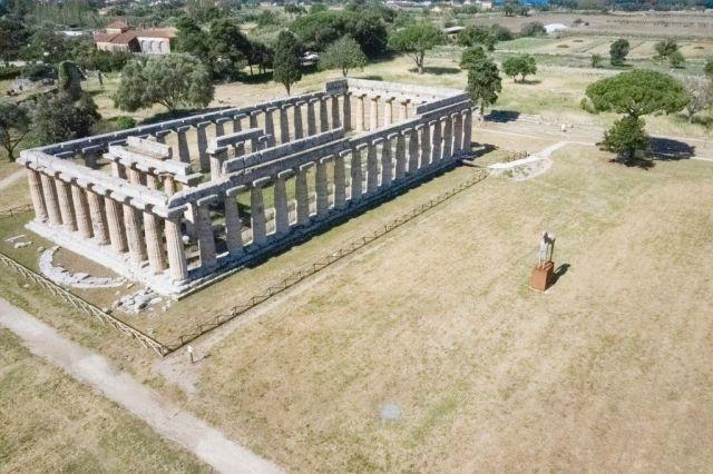The towering Greek temple complex at Paestum near Naples is the first Italian archaeological site to reopen