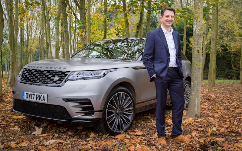 Nick Rogers, executive director of product engineering at JLR, and the company's Velar - Andrew Fox