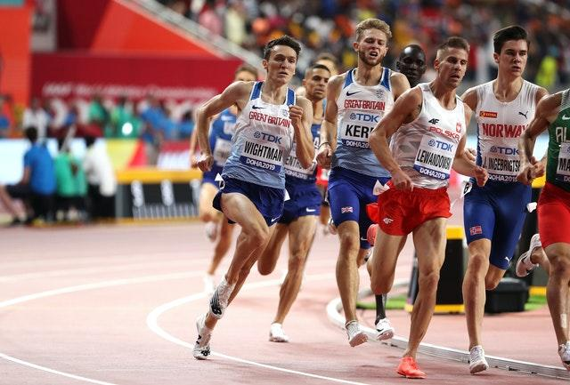 Wightman (left) came fifth in the 1500m final at last year's World Championships (Martin Rickett/PA).