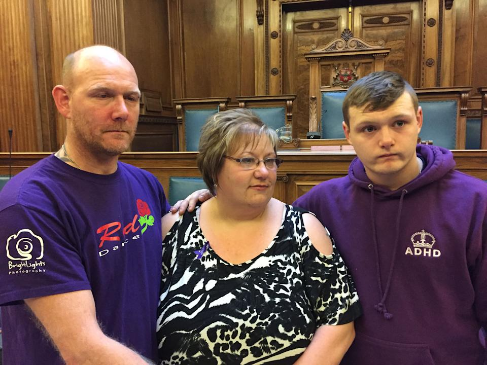 The father, mother and brother of Owen Jenkins, Gary, Nicola and Jordan Jenkins, at Nottinghamshire Coroner's Court where they heard the 12-year-old died in the River Trent at Beeston Weir, near Nottingham after going to help two girls who were in difficulty.