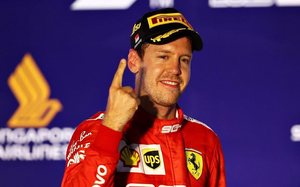 Sebastian Vettel's famous right index finger returned following his victory in Singapore - Getty Images AsiaPac