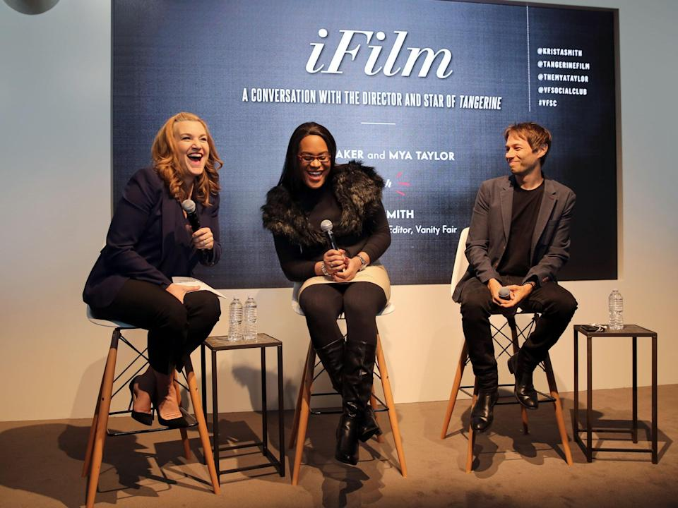 Vanity Fair West Coast Editor, Krista Smith, actor Mya Taylor, and Director Sean S Baker speak onstage during IFILM's A Conversation with the Director and Star Of The Film Tangerine during the 2016 Vanity Fair Social Club #VFSC for Oscar Week in 2016.Getty Images for Vanity Fair