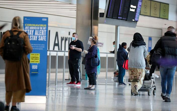 Passengers at Heathrow Airport's Terminal 5, after people returning from Spain were told they must quarantine when they return home - PA
