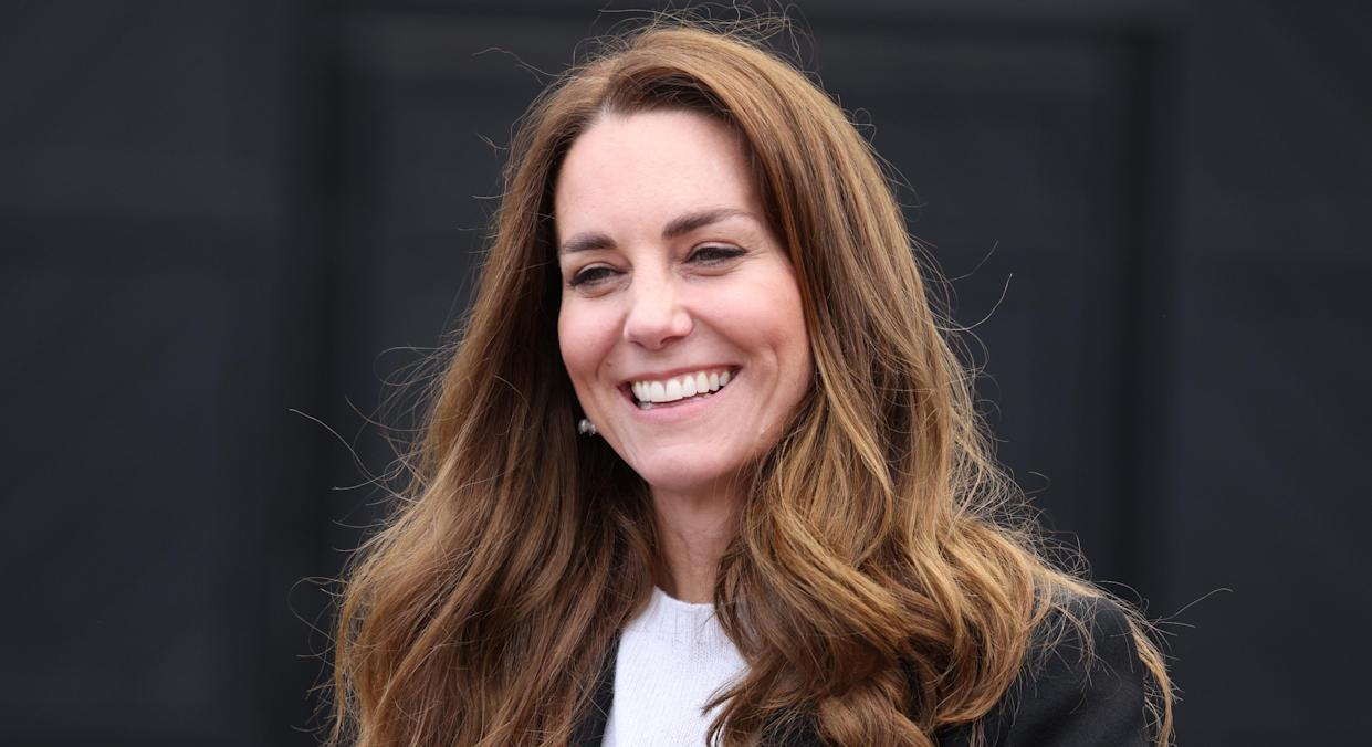 The Duchess of Cambridge dressed down to receive her coronavirus vaccine at the Science Museum in London. (Getty Images)