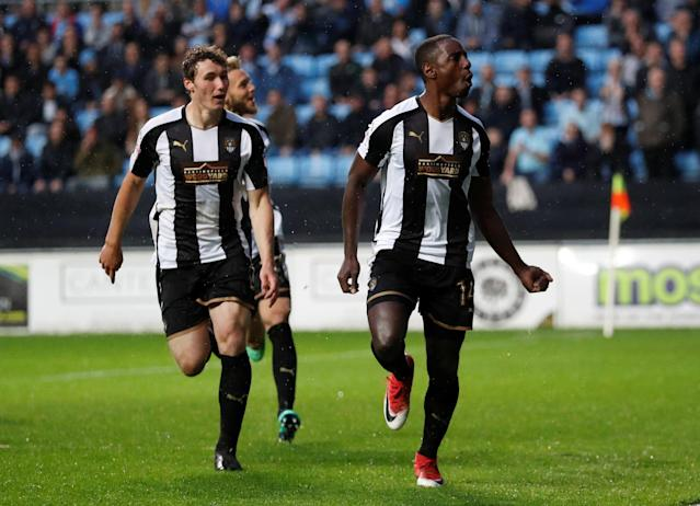 "Soccer Football - League Two Play Off Semi Final First Leg - Coventry City v Notts County - Ricoh Arena, Coventry, Britain - May 12, 2018 Notts County's Jonathan Forte (R) celebrates scoring their first goal Action Images/Andrew Boyers EDITORIAL USE ONLY. No use with unauthorized audio, video, data, fixture lists, club/league logos or ""live"" services. Online in-match use limited to 75 images, no video emulation. No use in betting, games or single club/league/player publications. Please contact your account representative for further details."