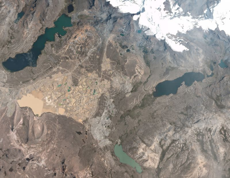A satellite image provided to Reuters shows the area around La Rinconada, a hub for artisanal gold mining in the Andes, Peru