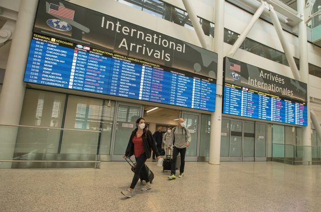 An arrivals area at Pearson International Airport in March, 2020. International medical students said they are concerned about flying to Canada for an exam during the COVID-19 pandemic.